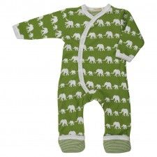 Organics Babygrow - Green Elephants