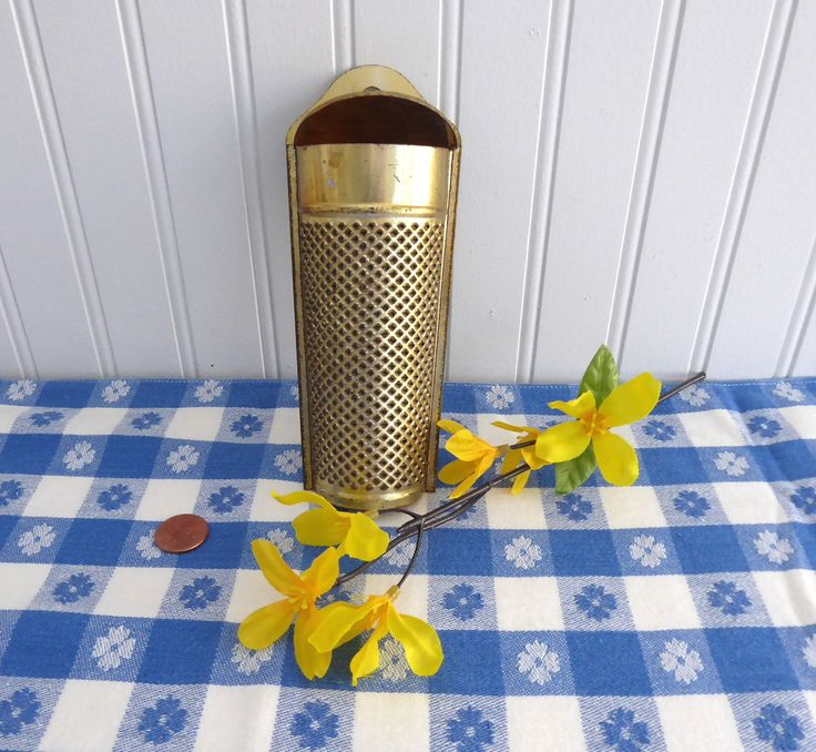 Victorian Era Tin Nutmeg Grater Coffin Shape Gold Washed UK 1890s Punched Tin Kitchen Gadgets Edwardian by RuthsBargains