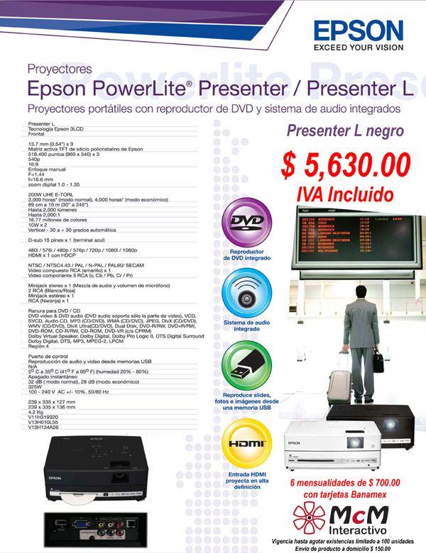 Proyector Epson Presenter L con DVD integrado a super precio de McM Interactivo