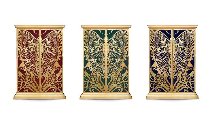 Mademoiselle Armoire by KOKET   Designed with a profound admiration and influence of the French decorative arts, the Mademoiselle Armoire will transport you to another world in a crazy beautiful kind of way. #armoire #butterflyfurniture #interiordesign http://www.bykoket.com/guilty-pleasures/casegoods/mademoiselle-armoire.php