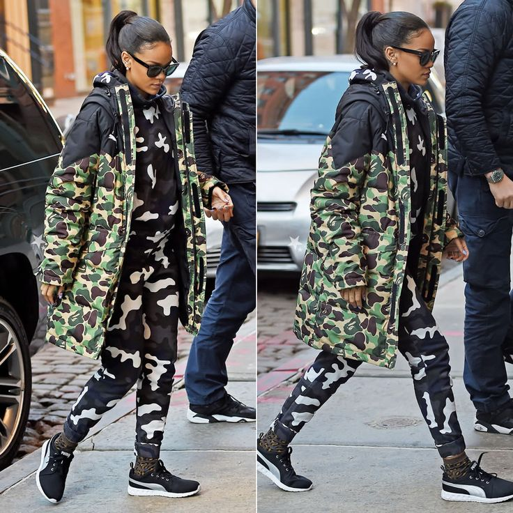 Rihanna wearing Puma x A Bathing Ape camouflage jacket, Christopher Kane camouflage sweatpants and sweatshirt, Puma Carson running shoes