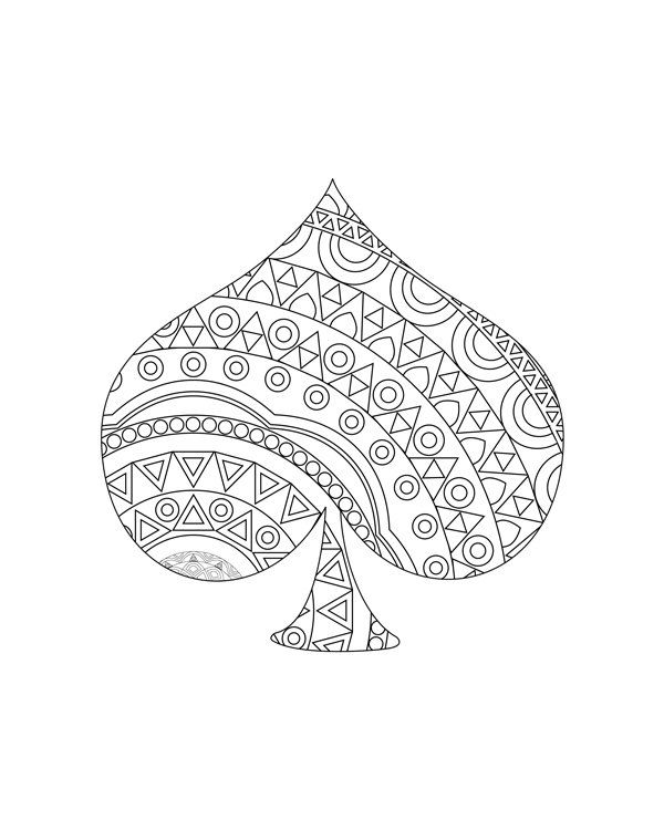 Gambling cards coloring pages Adult coloring book от hedehede
