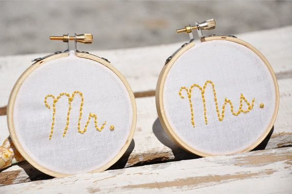 Custom Hand Stitched Mr. and Mrs. Embroidery Hoops