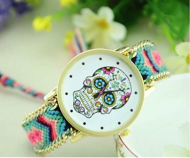 Sugar Women's Skull Fabric Watch //Price: $9.99 & FREE Shipping //     #skull #skullinspiration #skullobsession #skulls