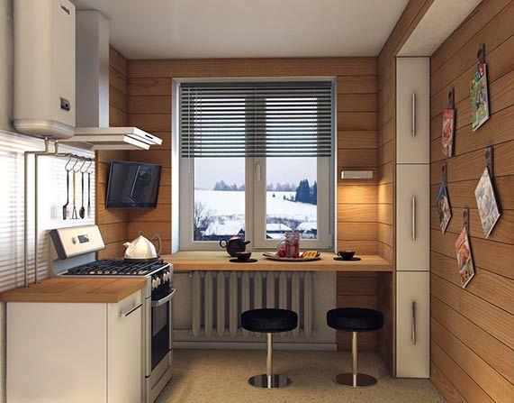 Дизайн маленькой кухни - стол-подоконник