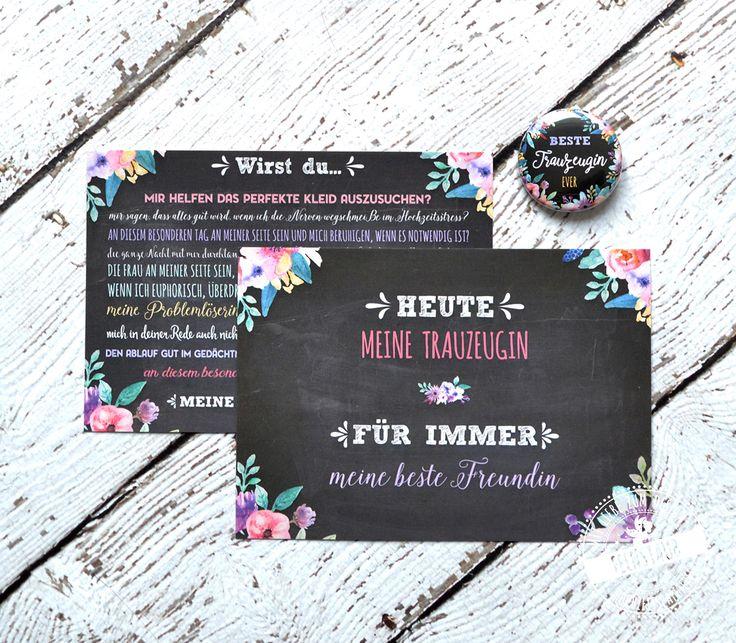 """Willst du meine Trauzeugin sein? An diesem wichtigen   Tag muss deine beste Freundin dir zur Seite stehen. Mit diesem Set   Trauzeugenkarte + dazu passender Button sagt deine beste Freundin /   Schwester zu dieser wichtigen Aufgabe bestimmt nicht Nein! Und dabei ist   auch gleich die passende Karte zum """"Dankeschön"""" sagen am Hochzeitstag."""