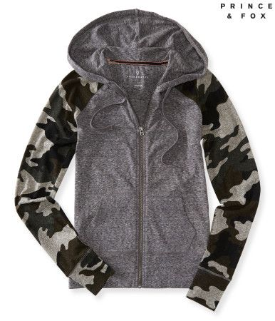 """Why go incognito when you can make a stand for bold style in this Prince & Fox Lightweight Camo Hoodie? It has everything you could ask for in a loungy layer, like a soft construction and adjustable hood. The sleeves' military inspired print gives your getup a big boost of sassy attitude.<br><br>Relaxed fit. Drawstring. Approx. length (S): 23.5""""<br>Style: 5029. Imported.<br><br>60% cotton, 40% polyester.<br>Machine wash/dry."""