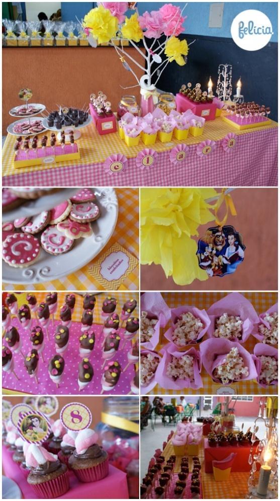 Beauty & the Beast  - pink and yellow party!