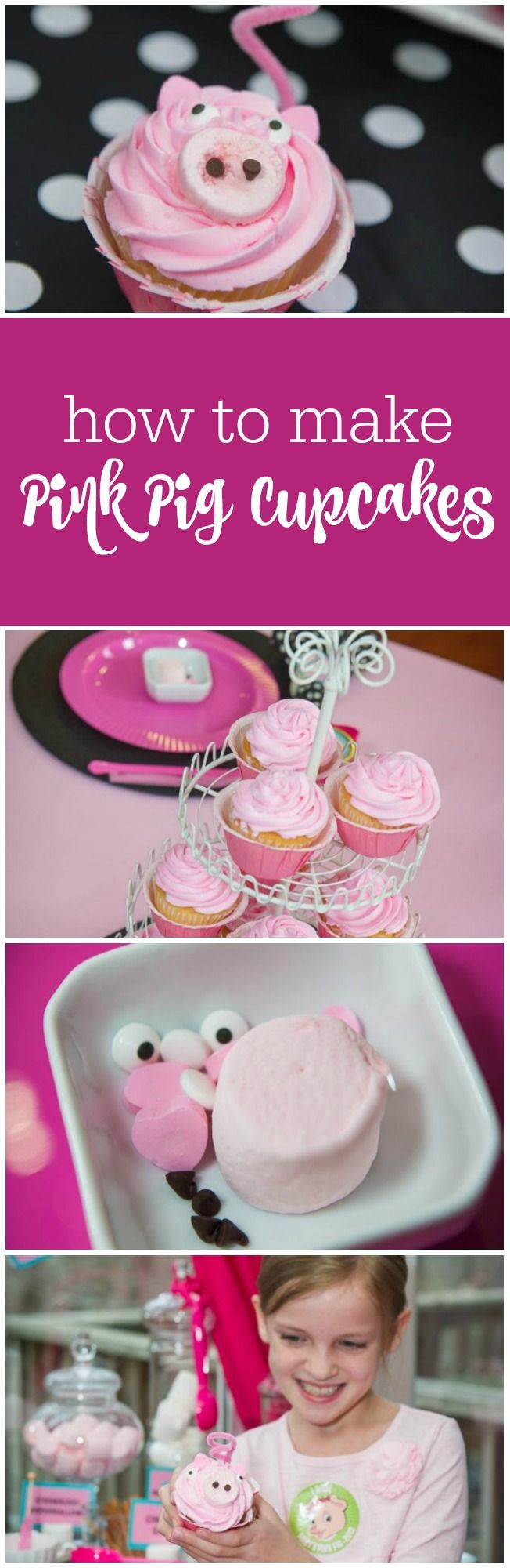 How to make pink pig cupcakes - perfect for a Pink Pig Party, Barnyard Party, Olivia Party, Peppa Pig Party by The Party Teacher | http://thepartyteacher.com/2014/01/09/tutorial-pink-pig-cupcakes/