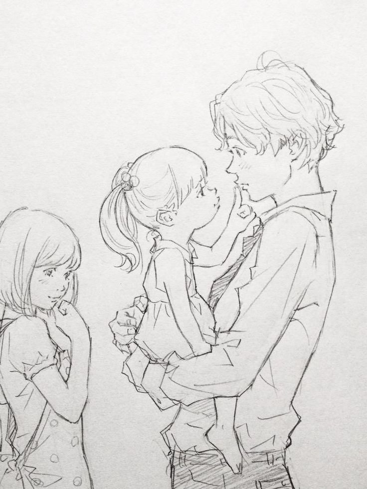 Manga Papa hat kleine Tochter auf dem Arm, Mama kichert