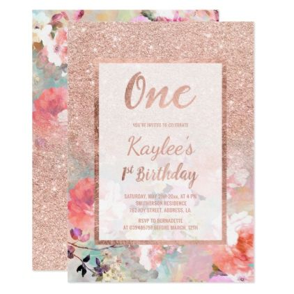Faux rose gold floral watercolor 21st Birthday Card - birthday cards invitations party diy personalize customize celebration