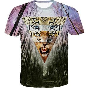 Purple Forest and Tiger Printed Crew Neck Casual Womens Tee Shirt