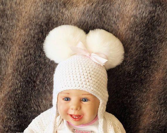 White Baby pom pom hat  Double Pom Pom Hat  White newborn