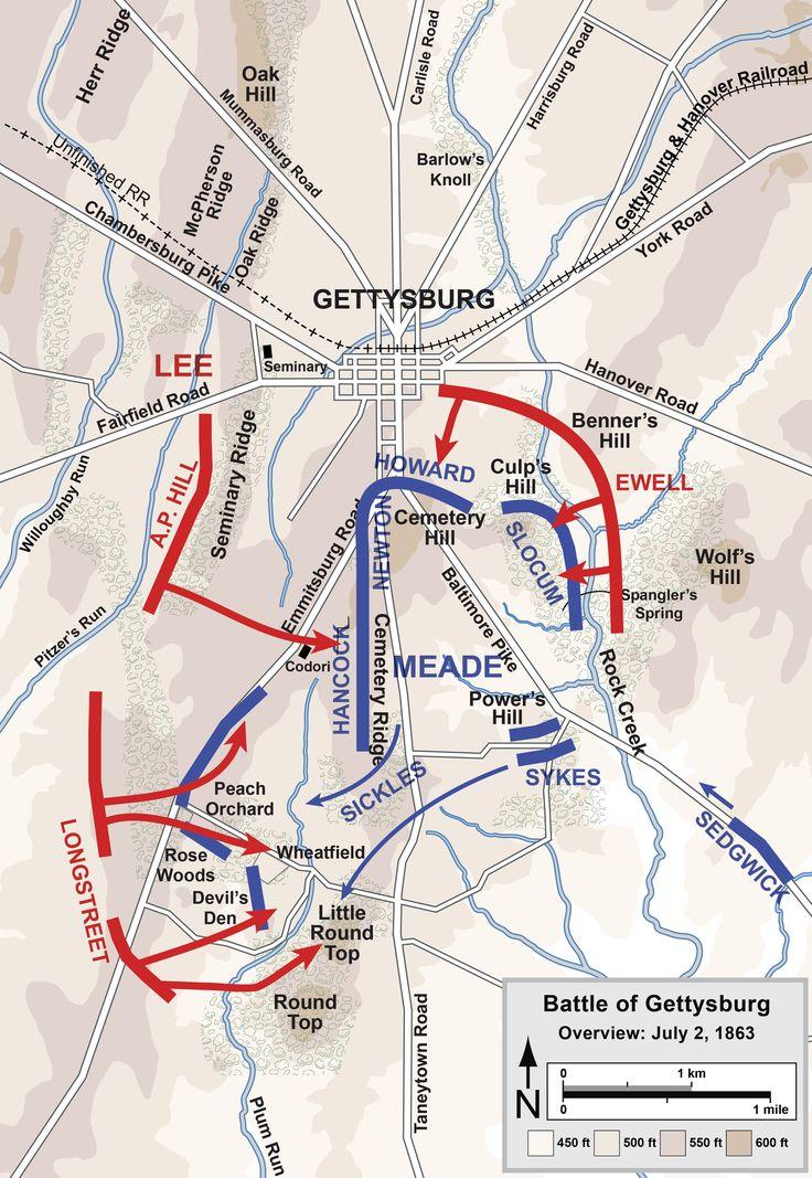 Best Gettysburg Battlefield Maps July Images On - Gettysburg battle us map