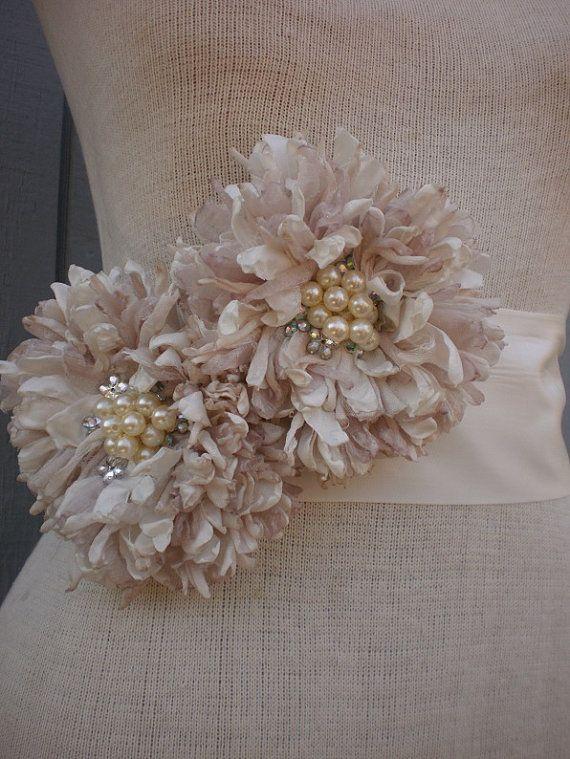 Bridal Sash, belt With Two Unique Design Flowers -$70.00