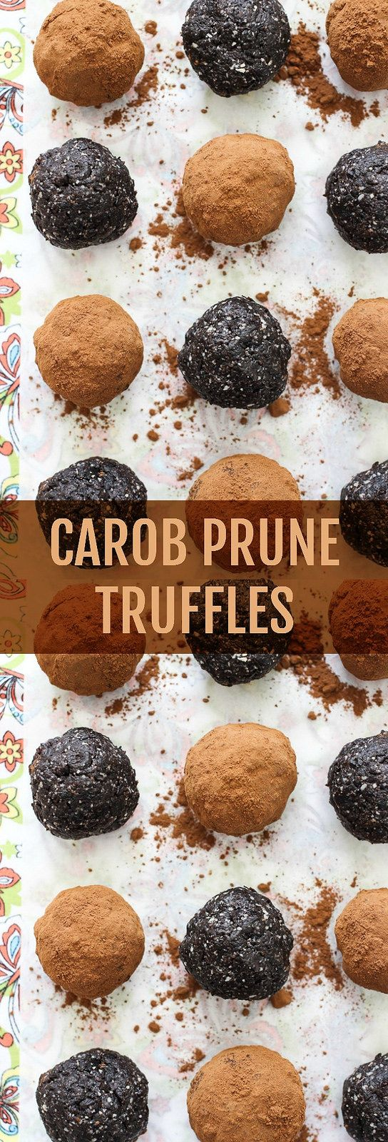 Carob Prune Truffles Recipe - no refined sugar added. Naturally sweetened with carob powder and prunes. Only 5 ingredients.
