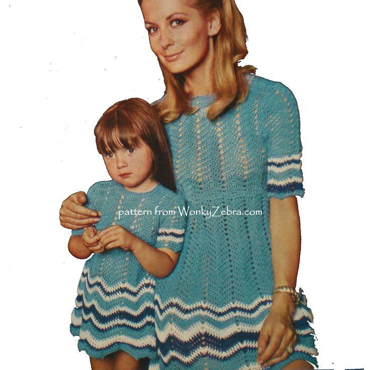 WZ005 fab ripple zigzag crochet dress pattern in woman and child sizes C54 005
