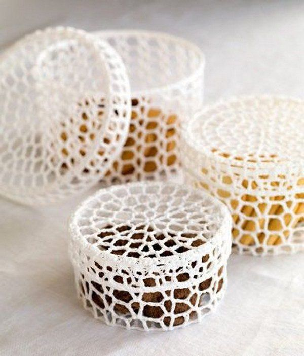 Beautiful Crochet Trinket Boxes .