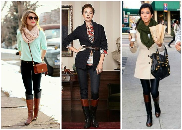 Two toned riding boots outfits.  See all here:  http://getyourprettyon.com/casual-chic-outfit-basics-good-riding-boots/