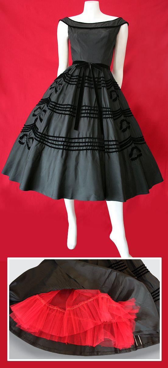 vintage 1950's black tafetta dress with velvet trim.