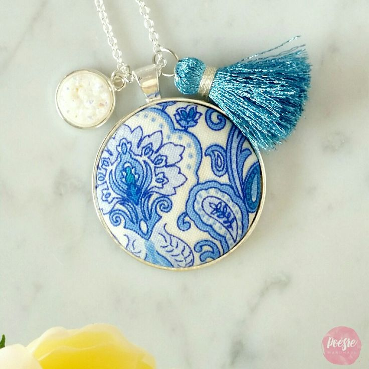 BLUE PORCELAIN DRUZY TASSEL NECKLACE • Handmade Original Design Fabric Button Jewellery • Available from www.poesiehandmade.com