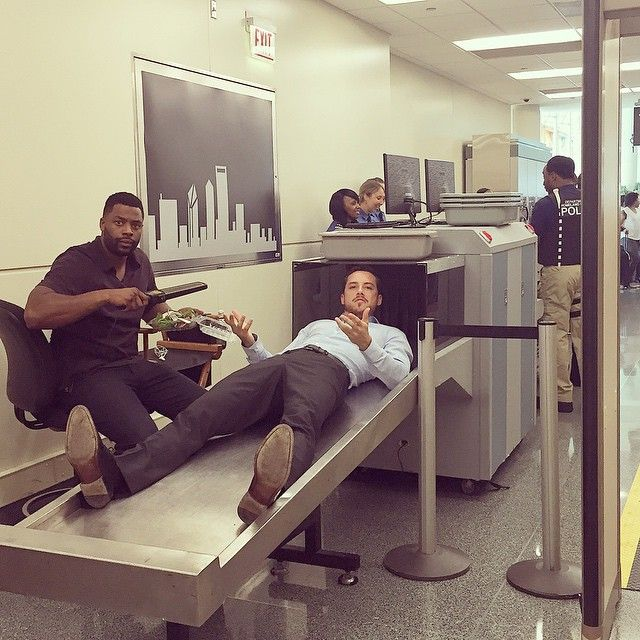 "Jesse Lee Soffer Instagram: ""I promise this is the fastest way to get through security."" #ChicagoPD #donttrythisathome"