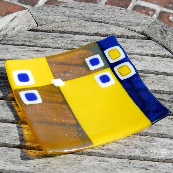 CIJ SALE Fused Glass Plate Lemon Zest Yellow by FirstLightGlass, $63.75