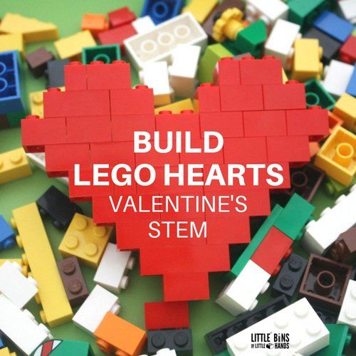 Build a LEGO heart for a simple engineering project for kids. LEGO hearts are a simple and fun STEM activity. Explore math and engineering with LEGO hearts!