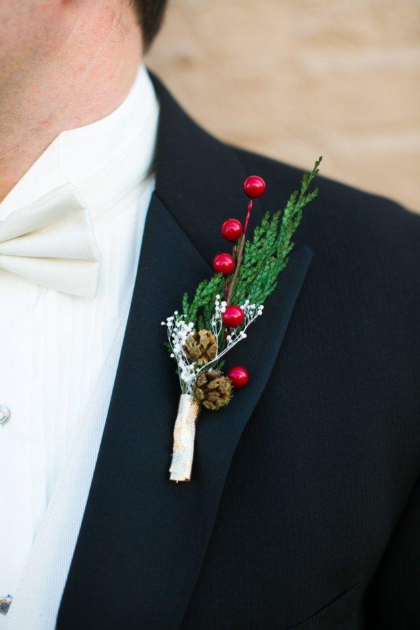 Christmas wedding ideas - boutonniere