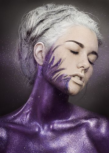 reminds me of the moment when neo from the matrix touches the mirror and the mirror starts to spread through him: The Color Purple, Body Paintings, Purple Body, Makeup, Fibromyalgia, Purple Passion, Body Art, Beautiful Shots, Bodyart