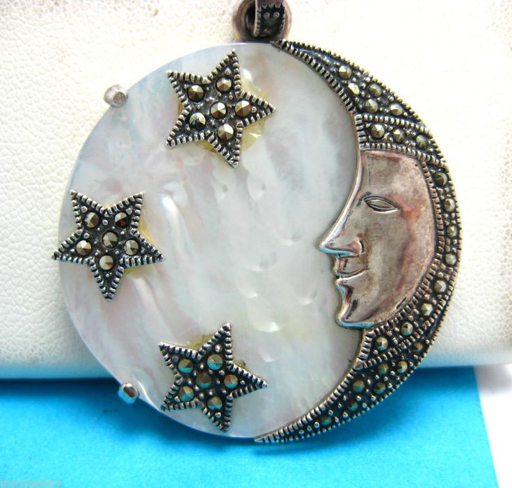 Sterling Silver Mother Of Pearl Moon Pendant Moon Face