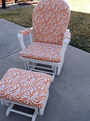 How To Recover Glider Rocking Chair Cushions Klismos Side And Ottoman Makeover So Great Remember For The Future Easy Make It Match Nursery Then I Love This B M A Grandma Now