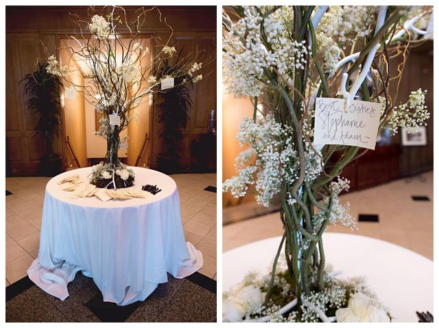 The Tall Centerpieces Will Be Vases With Curly Willow And Baby S Breath With Hanging Crystals