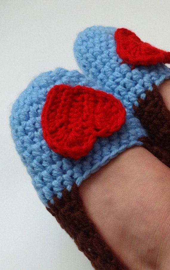 Crochet Slippers for Women  stripes hearts Adult Crochet by Ifonka, $18.00