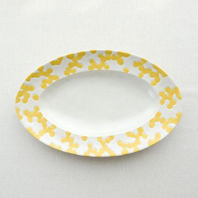 本郷里奈(ほんごうりな)ミモザ楕円皿/Mサイズ【オーバルプレートカレー皿和食器作家花柄送料無料】