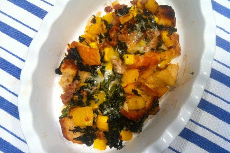 Eggless Strata with Butternut, Sausage, Kale and Fontina recipe on ...
