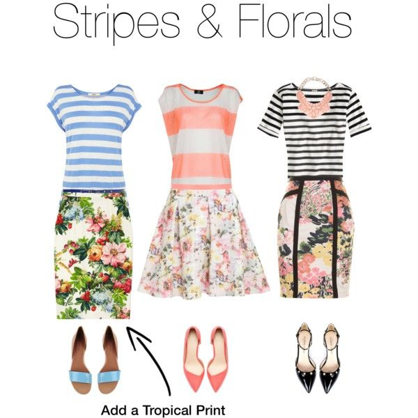"""Print on Print: The look is cohesive and fun. Florals and Stripes always catch my attention, rule of thumb keep the patterns in the same color family and you're golden. Feeling bold use complimentary colors... Fashion is a form of art! Express yourself, let the haters hate ;)"
