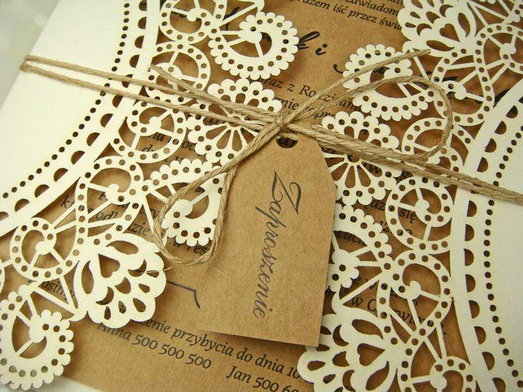 rustykalne zaproszenia na ślub z kolekcji Lukrecja wzór 59 |   Zaproszenia ślubne laserowe, kartki 3D
