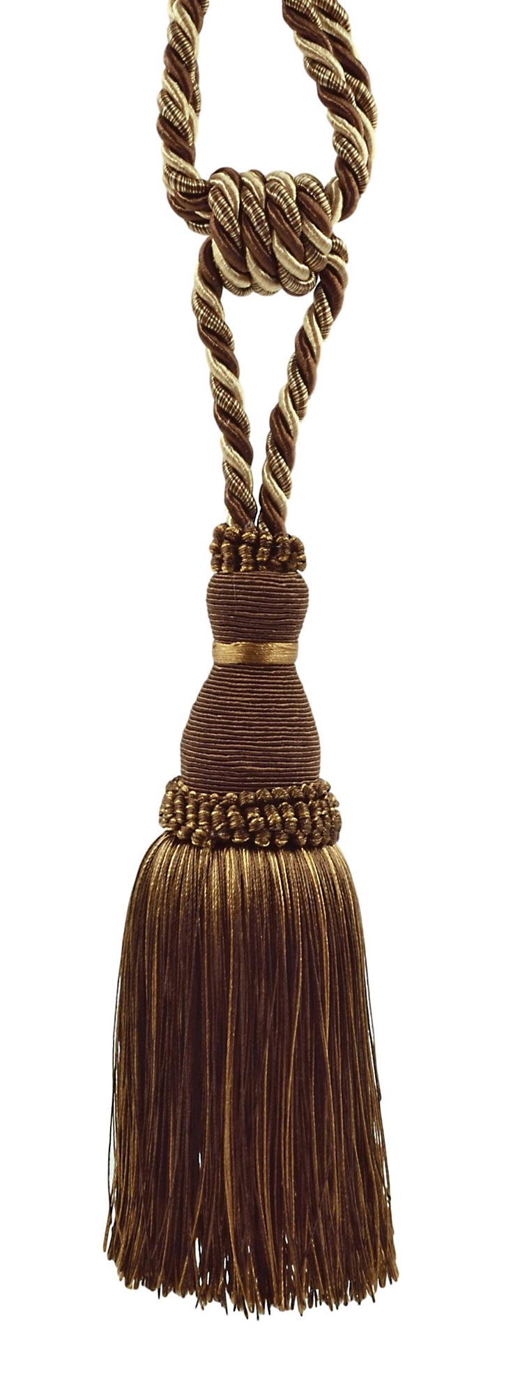 Elegant Dark brown, Sand Curtain & Drapery Tassel Tieback / 8 Inch tassel, 30 Inch Spread (embrace) Style# TBH8 - Espresso Latte D2A2