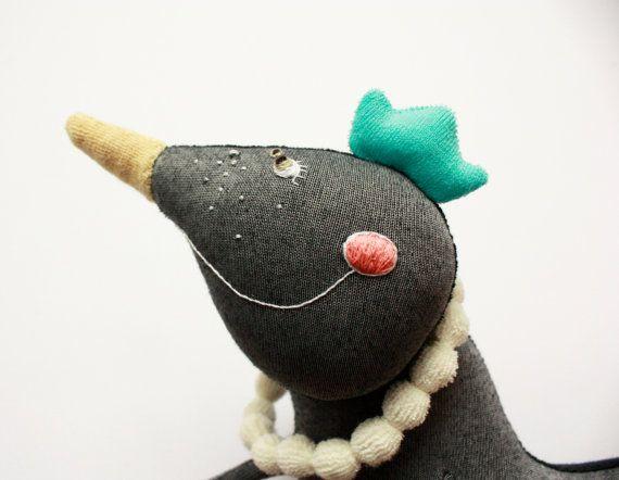 Bird plush toy children friendly magpie stuffed toy by Skripskrap