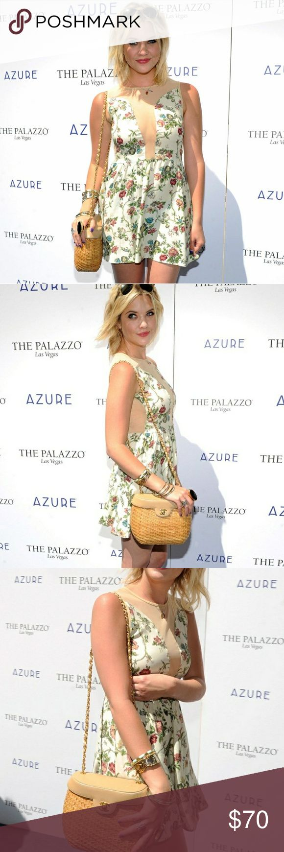 For Love and Lemons Lulu dress in Floral Ashley Benson of 'Pretty Little Liars' rocked this dress for a Vegas pool party!   EXCELLENT CONDITION. Brand new, never worn. No tags unfortunately.  The Lulu Dress by For Love & Lemons features a high neck, sleeveless design, plunging neckline with sheer overlay, sheer detailing in the back, gathered waist, and zip closure down the back.  Made In USA  If you love FL&L check out my closet for other dresses and tops! For Love And Lemons Dresses Mini
