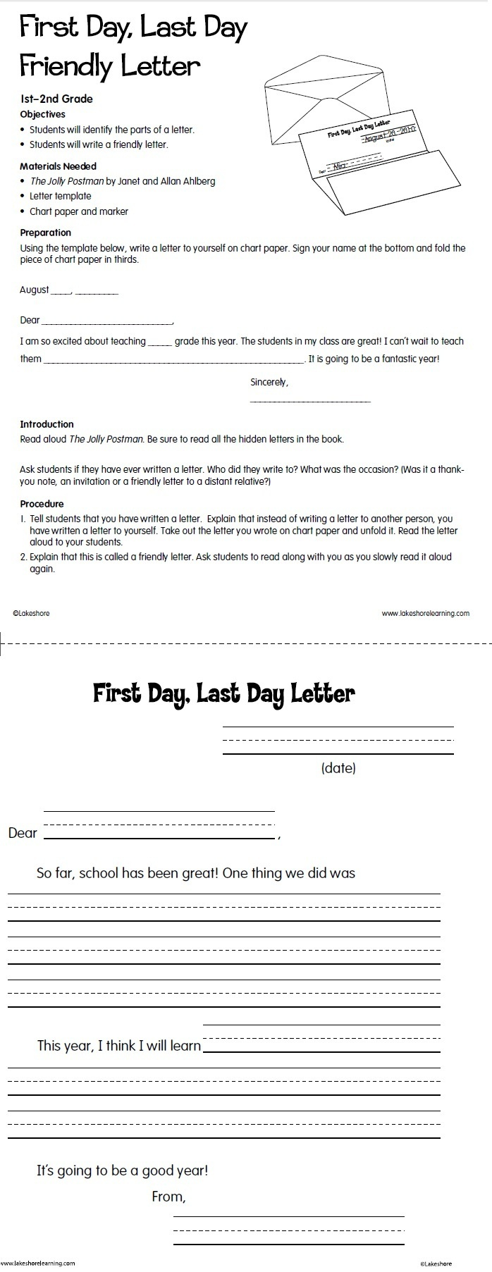 9 best the jolly postman images on pinterest teaching ideas first day last day friendly letter lesson plan from lakeshore learning spiritdancerdesigns Images