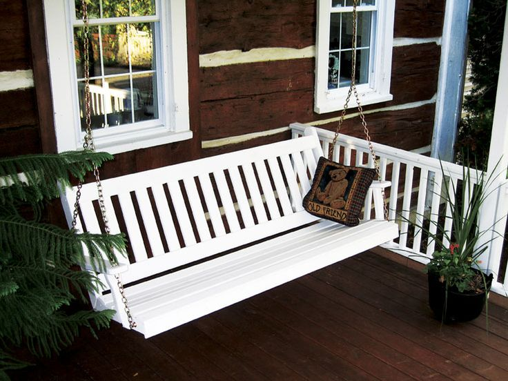 amish made pine wood english porch swing painted furniture - Front Porch Swing
