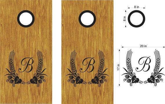 Wheat Barley Initial Beer Cornhole Board Decals by StickerChef