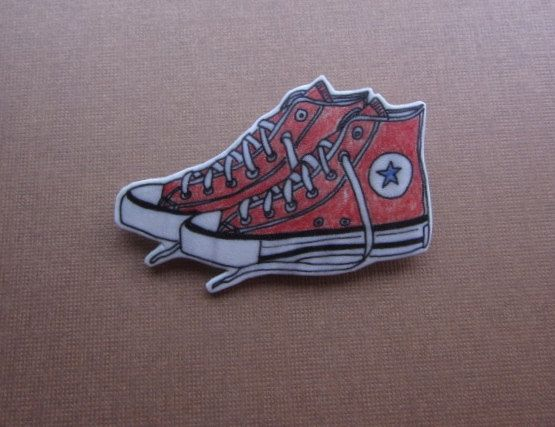 Red Converse Shoes Magnet Hand Drawn Shrink by ColorfulClay
