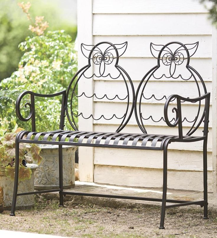 Backrest wrought-iron benches is designed in the form of two joint creative and unusual