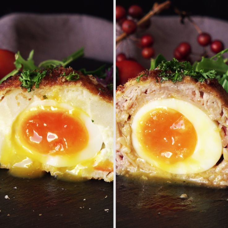 Upgrade your Scotch eggs with potato salad and savory beef. Save the recipe on our app! http://link.tastemade.com/HE7m/H1wHe4m2mA