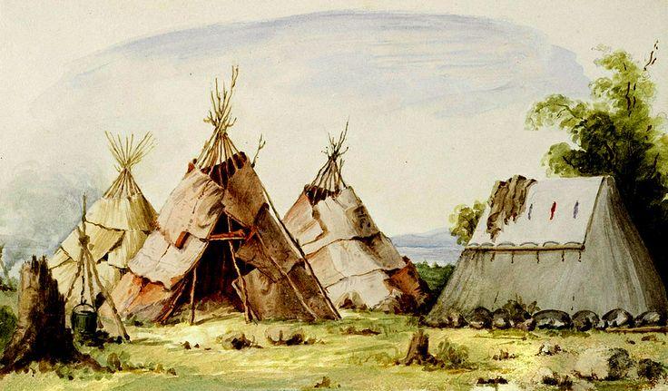 Accampamento degli Ojibway. Si notano capanne di corteccia a forma conica e una tenda di tela.