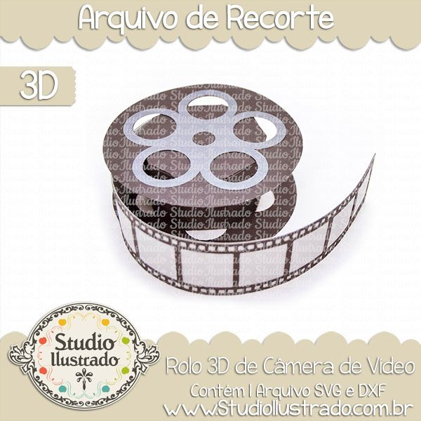 Rolo 3D de Câmera de Vídeo, Rolo, 3D, Câmera, Vídeo, 3D Roll Camcorder, 3D, Roll, Camcorder, film, filme, cinema, projeto 3d, boxes, box, arquivo de recorte, caixa, 3d,svg, dxf, png, Studio Ilustrado, Silhouette, cutting file, cutting, cricut, scan n cut.