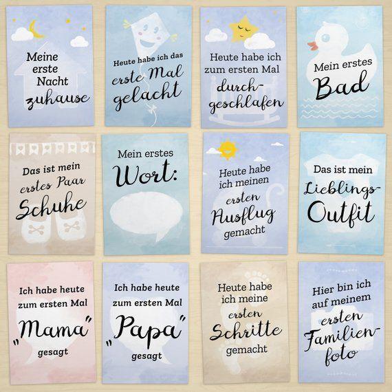 Geschenk zur Geburt: 30+1 Meilenstein Foto- und Erinnerungs-Karten mit Baby-Tagebuch, DIN A6, matt – inkl. Geschenkbox und Glückwunsch-Karte – Bella Trix